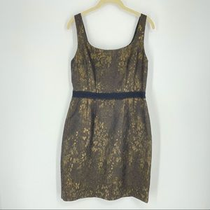 ELIE TAHARI Dress Kearny Gold Black Brocade Short